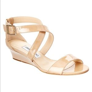 Jimmy Choo 'Chiara' Patent Strappy Wedge Sandals